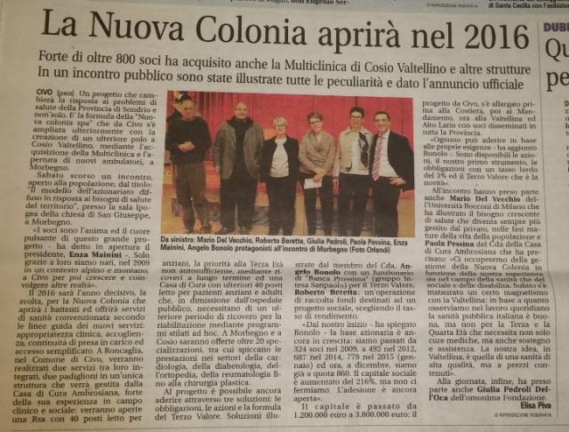 La nuova colonia 2015